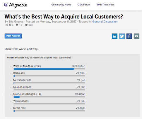 Alignable survey - what's the best way to get local customers?